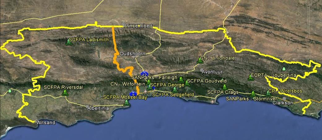 Knysna Fire Map.S C F P A Overview Southern Cape Fire Protection Association